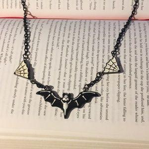Cute Bat & Spiderweb Chain Necklace 🦇
